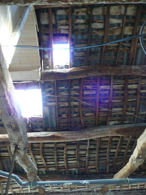entramado de madera en cubierta
