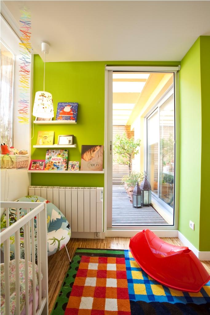dormitorio niños ventana terraza oculta tabique