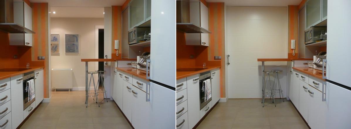 Grandes puertas correderas como incorporar espacios sin - Puertas corredizas para cocina ...