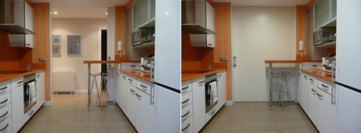 soluciones usos flexibles cocina grandes puertas correderas barra desayunos