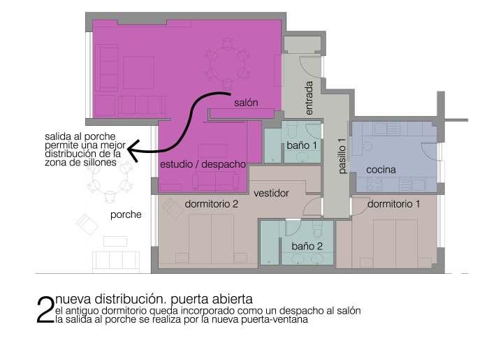 esquema planta soluciones usos flexibles dormitorio grandes puertas correderas