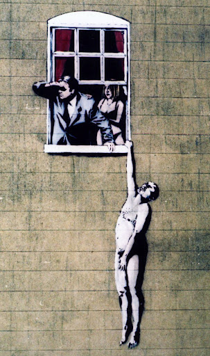 banksy graffiti street art naked man