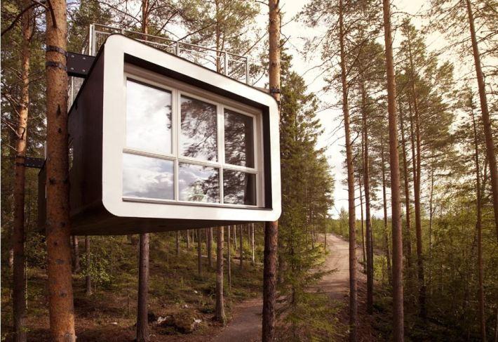 treehotel cabin habitación suspendida en los árboles