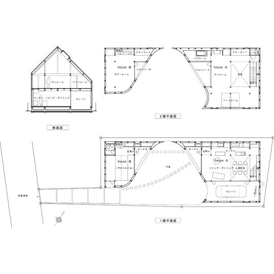 NAF architects & design a home made of two vivienda japon muro dos viviendas que encajan planta
