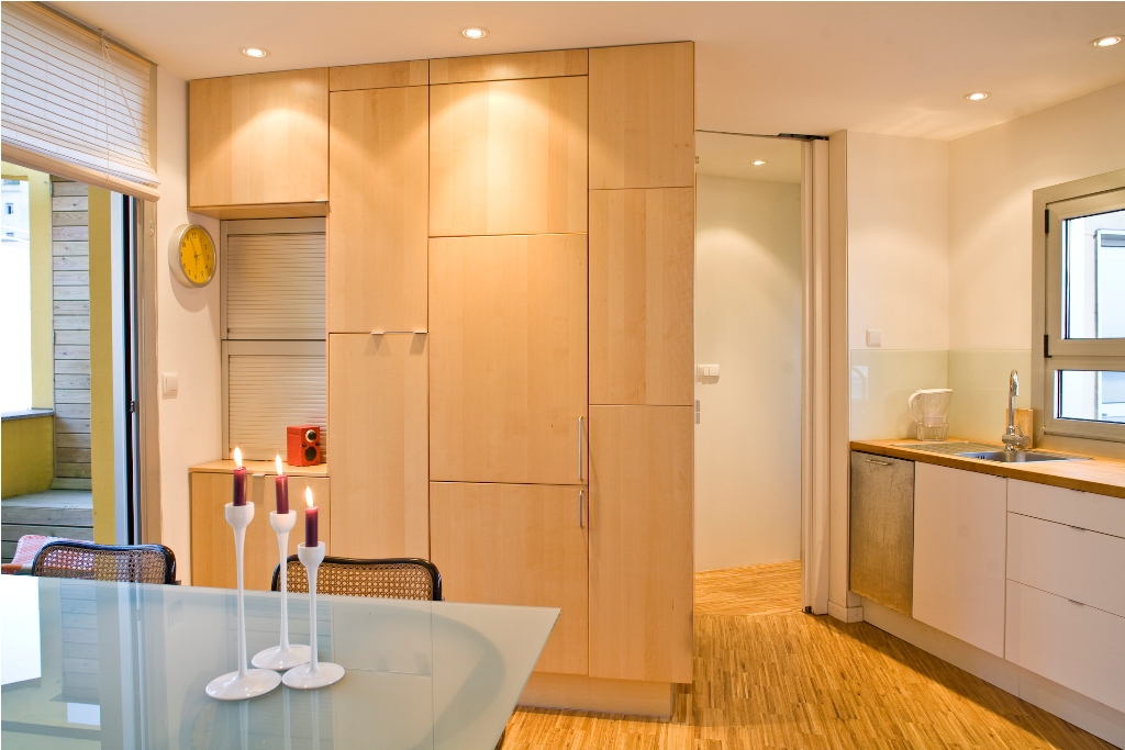 cocina ikea nexus abedul integrada en salón
