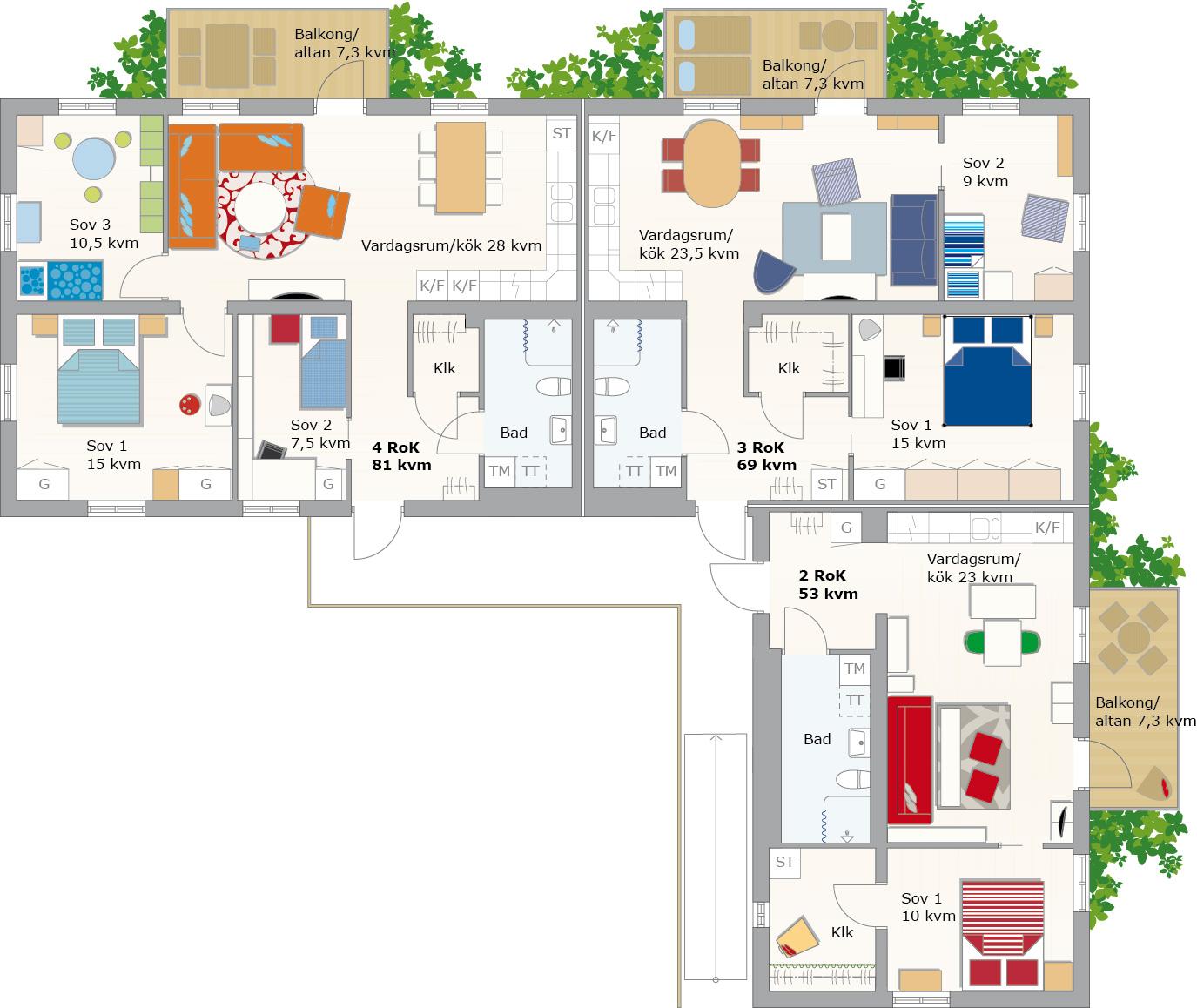 casas modulares prefabricadas ikea boklok apartamentos planta en L un dormitorio